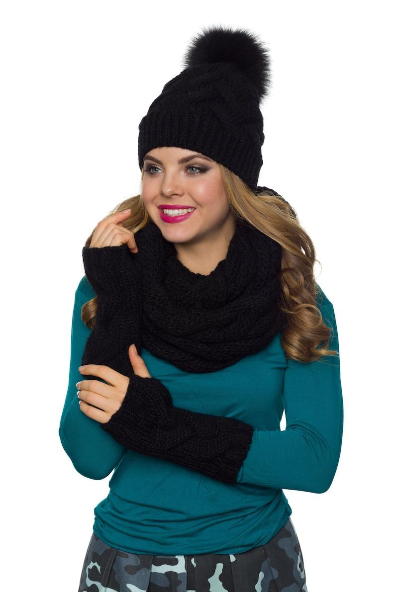 2887be96 Womens hat scarf and glove set Pom pom hat Infinity scarf | Etsy