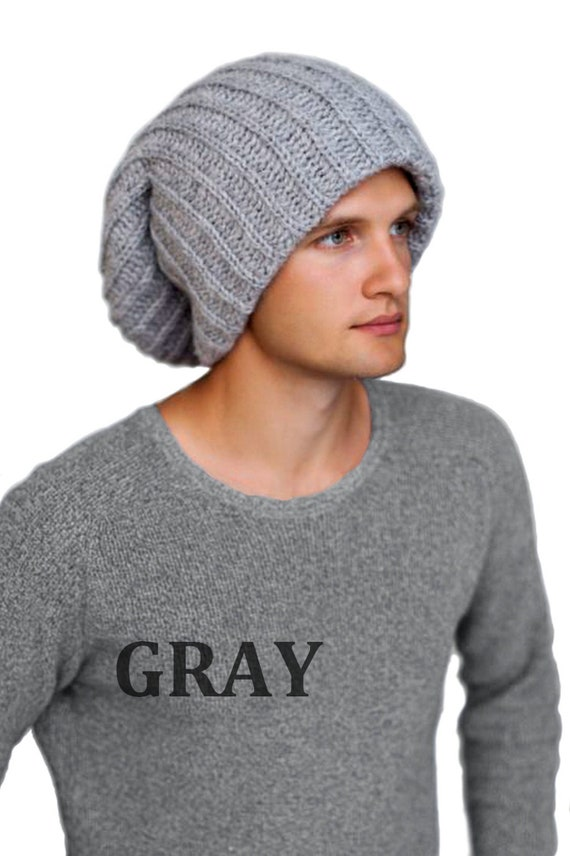 Mens winter hat-Gray Tam-Winter hat for dreadlocks-Gray  e7c4dcda662