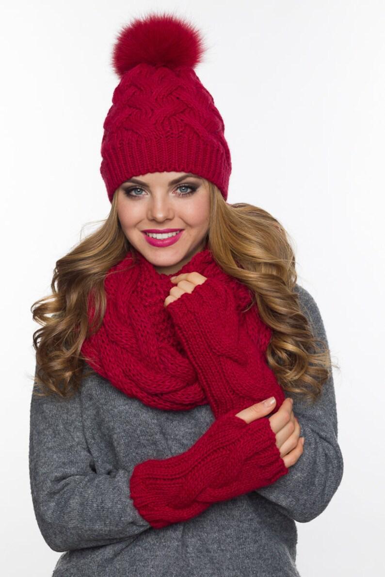 c55674d6acbb3 Pom pom hat fleece lined Infinity scarf Fingerless gloves set