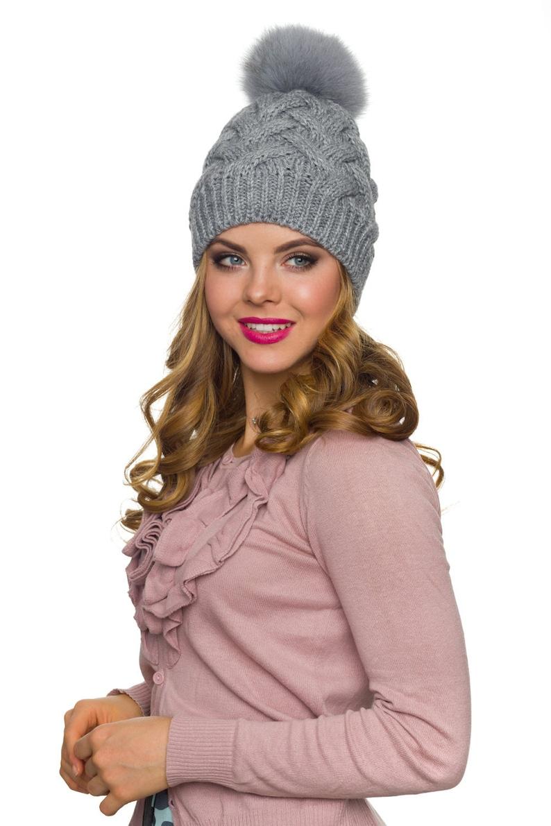 330f4c376 Fur pom pom hat Winter hats women Wool hat women-Christmas gift for  women-Pompom hat-Winter hats for women-Cable knit hat-Fleece lined hat