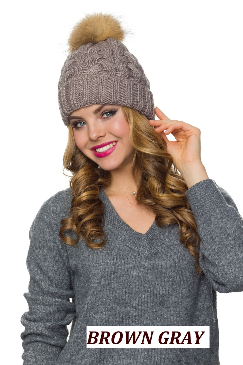 9e0373c9a4b21 Pompom hat fleece lined Winter hats women Pom pom hat Fur