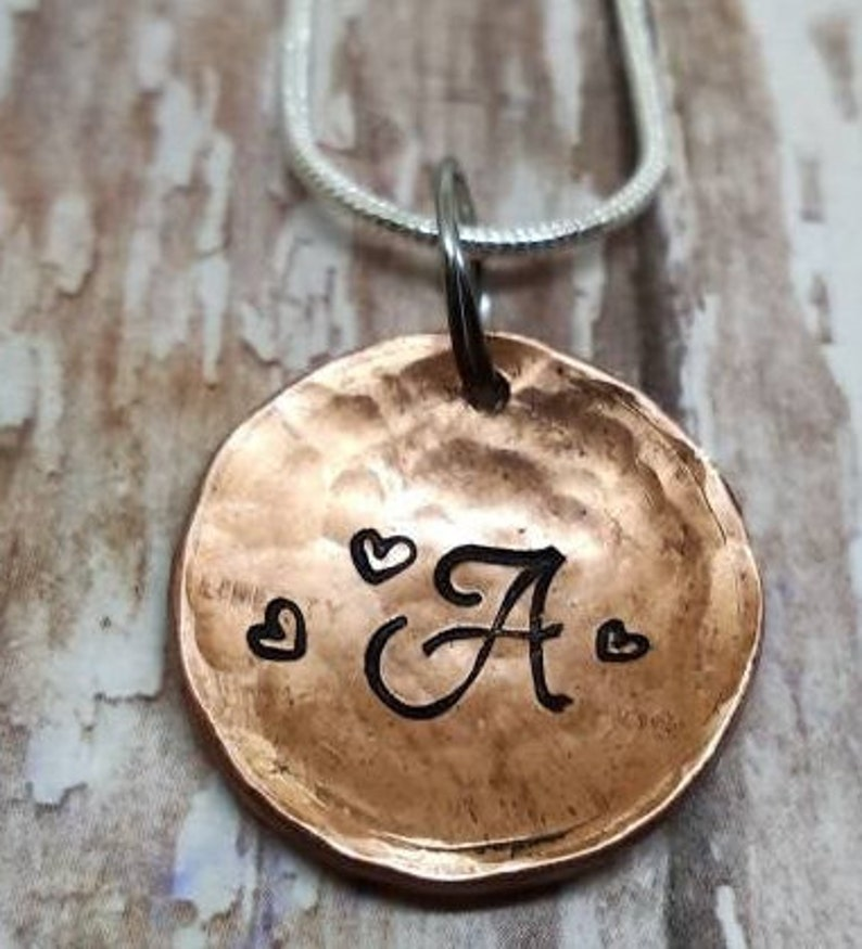Hammered Penny initial domed copper hammered initial necklace Mixed metal Copper Initial necklace Initial PENNY necklace charm necklace