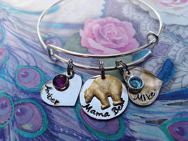 Nana Custom name bracelet Personalized names Grandma Personalized MAMA Bear Engraved grandchildren stainless Expandable Bangle Mom
