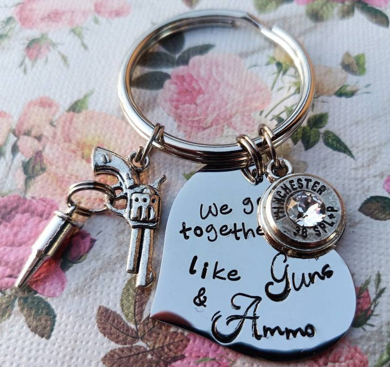 Gun bullet Keyring Heart or Dog Tag Bullet Bullet Key ring We go together Like Guns and Ammo Bullet Keychain