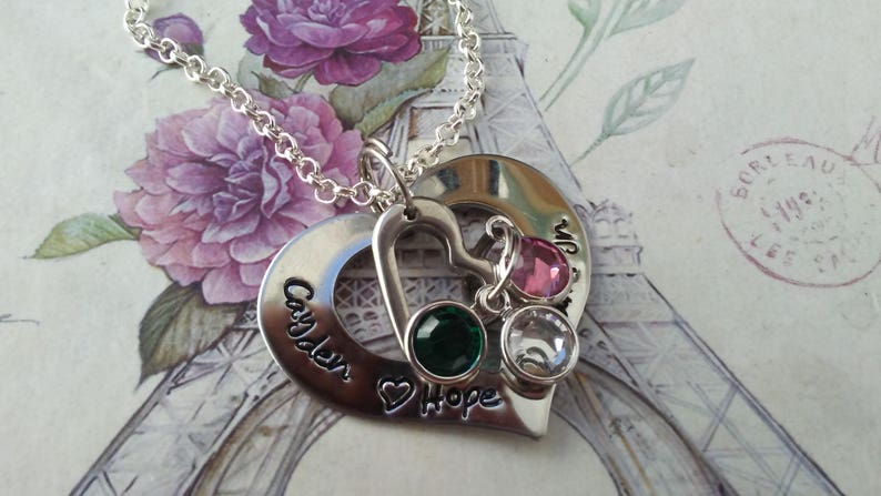 couples name Nana Hand Stamped grandma Mother necklace Mommy stainess Monogrammed OPEN HEART sterling Mimi