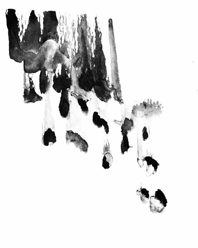 Meteorites  Original ink wash painting  Contemporary art  image 0
