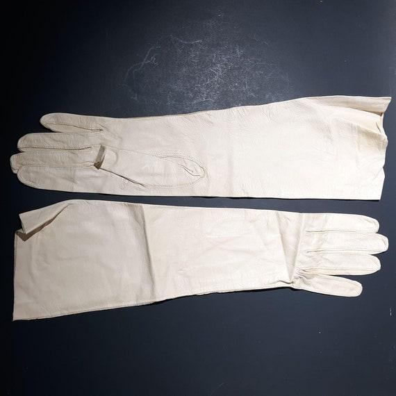 Wear-Right Kid Leather Gloves Gauntlet 13.5″ Bone