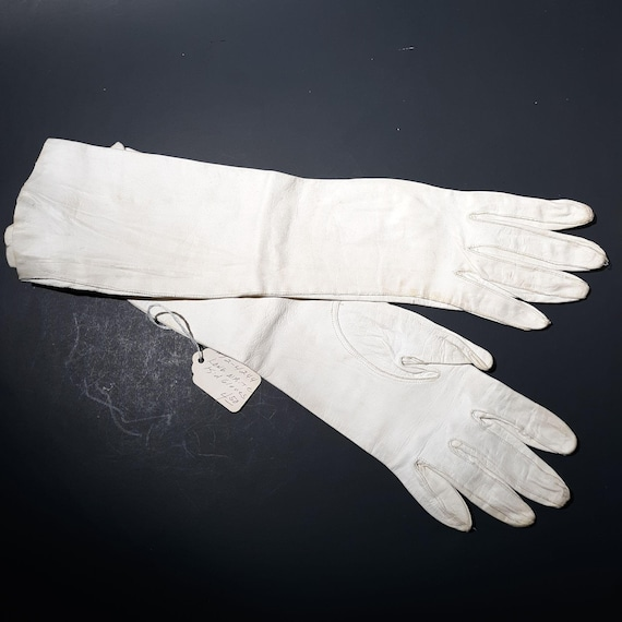 White Kid Leather Gauntlet Gloves Sz 6.5 Vintage … - image 1