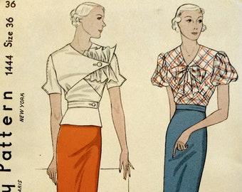 Pristine Uncut Original 1930s Blouse and Skirt Pattern Simplicity 1444
