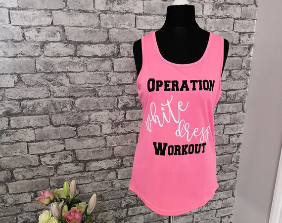 White dress workout, gym top, wedding tank, bride tank, Mrs in training, sweating for the wedding, fitness apparel, Mrs in training