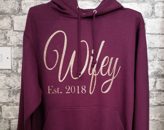 Wifey hoodie, wedding hoodie, wife hoodie, bride gifts, Honeymoon top, gifts for her, new Mrs hoodie, newlywed, gifts for her
