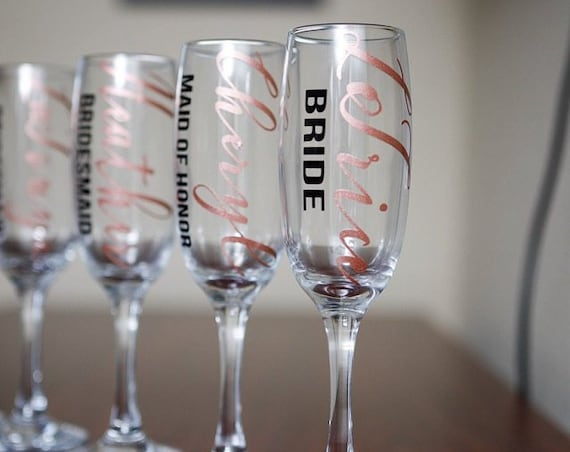 Personalised bridal party champagne flutes