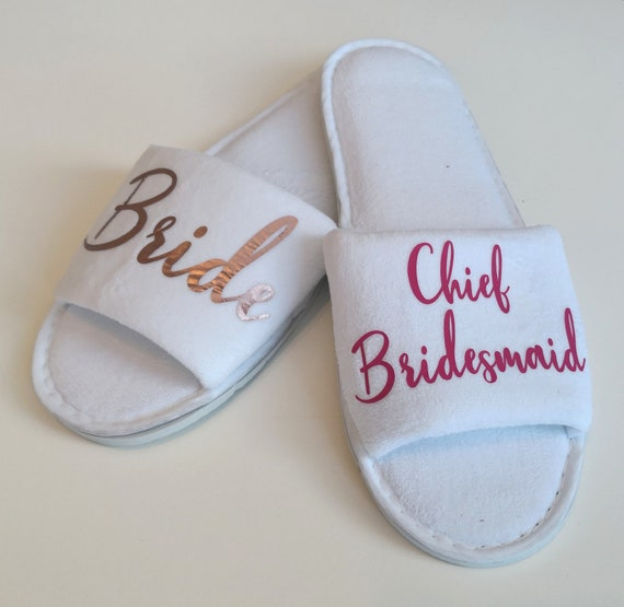 Luxury wedding slippers, bridesmaid slippers, bridal party gifts, hen party, spa slippers, personalised slippers, Bridesmaid gifts