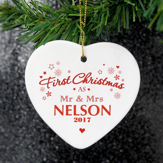 First Christmas as Mr and Mrs, tree decoration, hanging heart, Christmas decoration, Personalised gift, Mr and Mrs gift