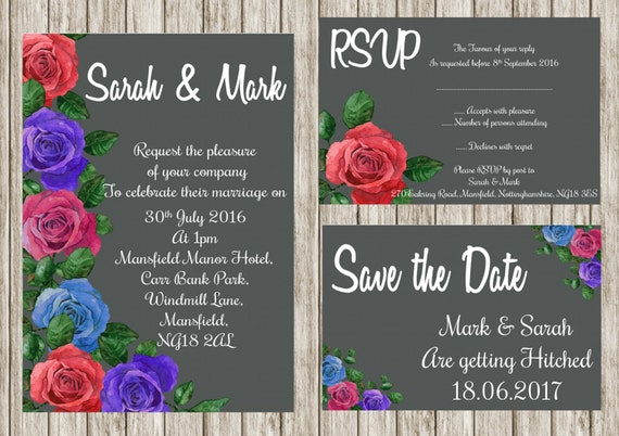Grey rose, Printable wedding invitation , Floral wedding invites,save the date, Rsvp, print your own, DIY invitations, Floral invitations