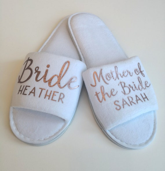 Personalised wedding slippers, Bridesmaid slippers,  luxury open toe spa slippers, bridesmaid gifts, Hen party, bridal slippers