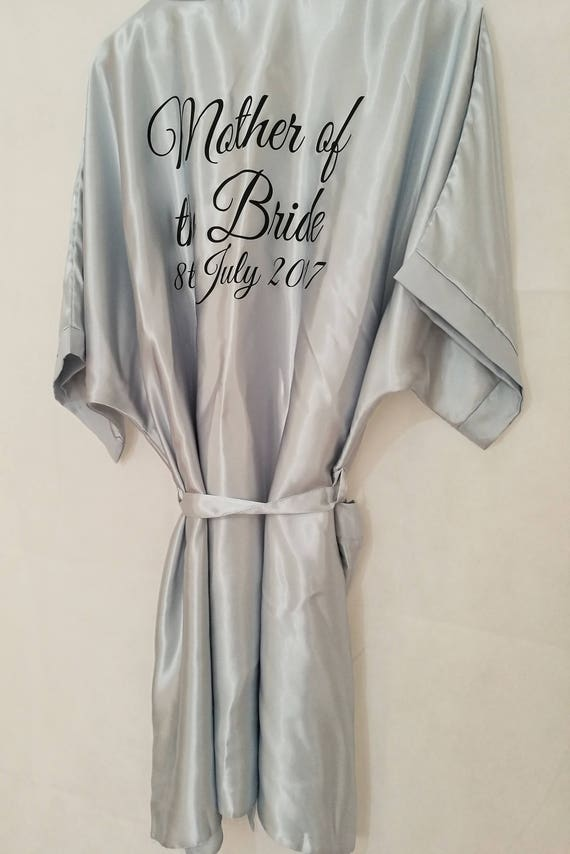 Silver Bridal Robe, Personalised Dressing Gown, Bridesmaid Gift, Hen Party Gift, Satin Robe, Wedding Dressing Gowns, size 8 to 26