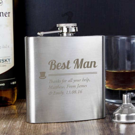 Best Man Hip flask, personalised hip flask, wedding hip flask, Best man gift, groomsman gift, Personalised gift, gifts for him, wedding gift
