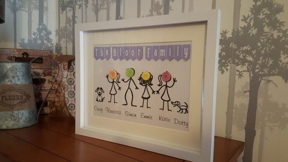 Button Family picture Large frame (family tree), family tree, perfect gifts for mothers day