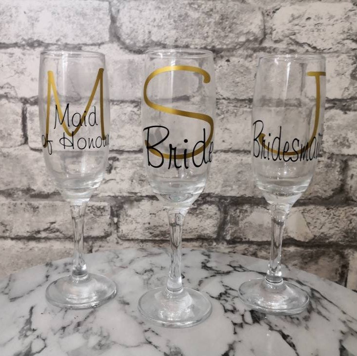 Personalised Wedding Glasses Wedding Champagne Flutes Bridesmaid