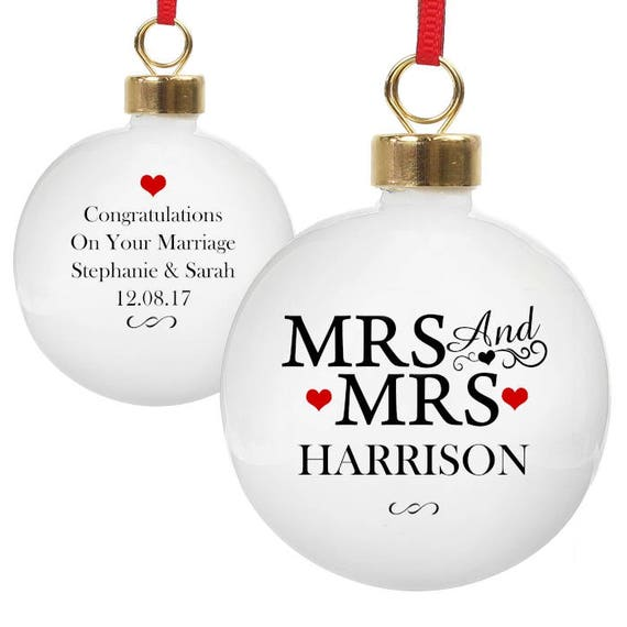 Mrs and Mrs Christmas decoration, same sex gift, personalised bauble, Gifts for them, tree decorations, first Christmas as Mrs & Mrs