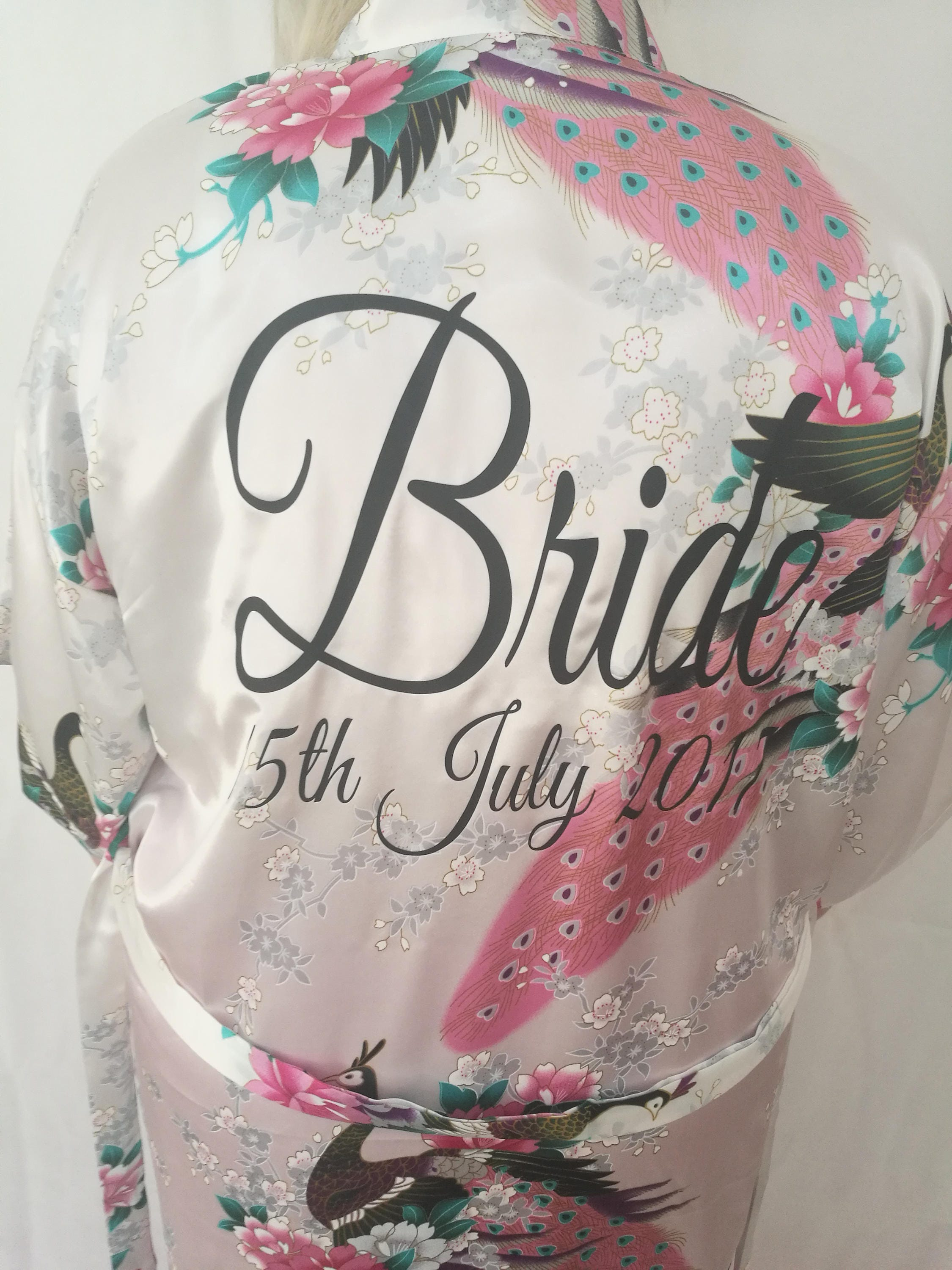 66803f0c576a8 Personalised Bridal robes, Floral Kimonos, Wedding dressing gowns, Bridesmaid  gifts, Personalised dressing gown, Satin robe. 1