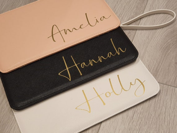 Personalised clutch bag, bridesmaid gift, initial clutch bag, personalized monogrammed bag, bridal pouch, bride clutch bag