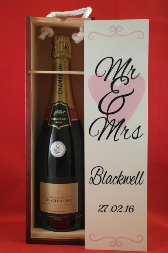 Personalised wine Box, Mr and Mrs gifts, Champagne gift box,