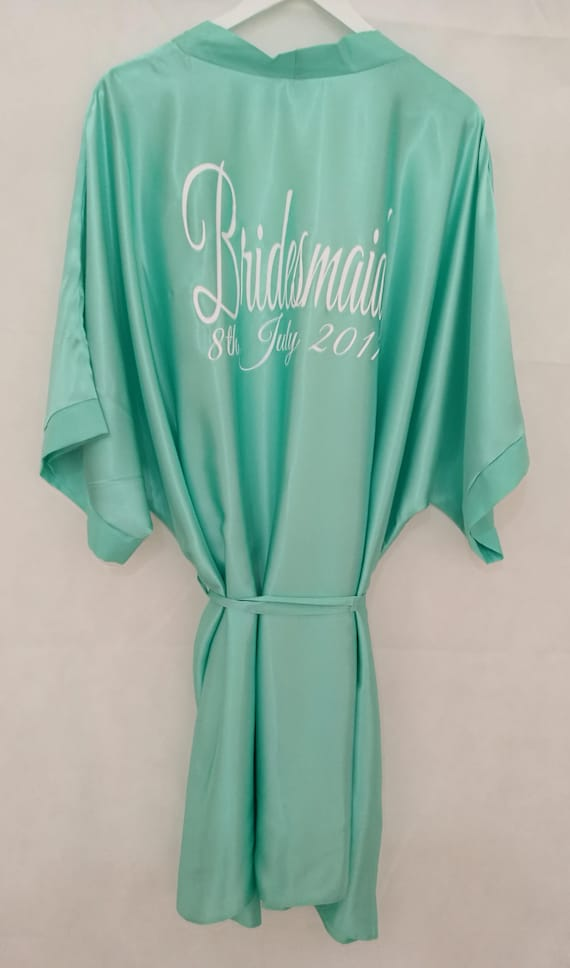 Mint personalised wedding dressing gown