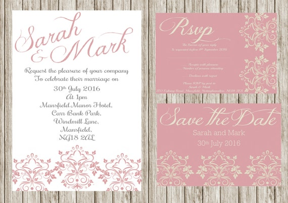 Pink damasks invitation, Printable wedding invitation set, Floral wedding invites, save the date, Rsvp, print your own, DIY invitations,