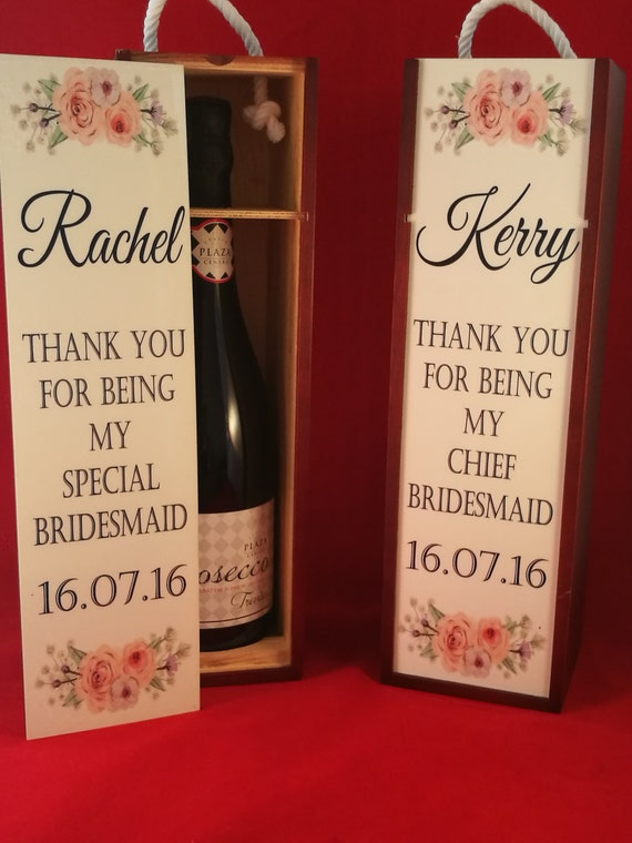 Bridesmaid Gift, maid of honour gift, personalised wine box, bridal party gift, Mother of the bride gift, drink gifts, personalized gift box