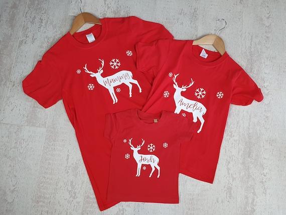 Family Christmas pyjamas, matching T-shirts, matching stag tops, Christmas pjs