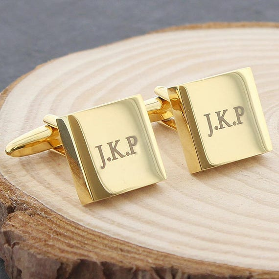Personalised gold cufflinks, initial cufflinks, Gifts for him, Wedding gifts, Best man gifts, Groomsman gift