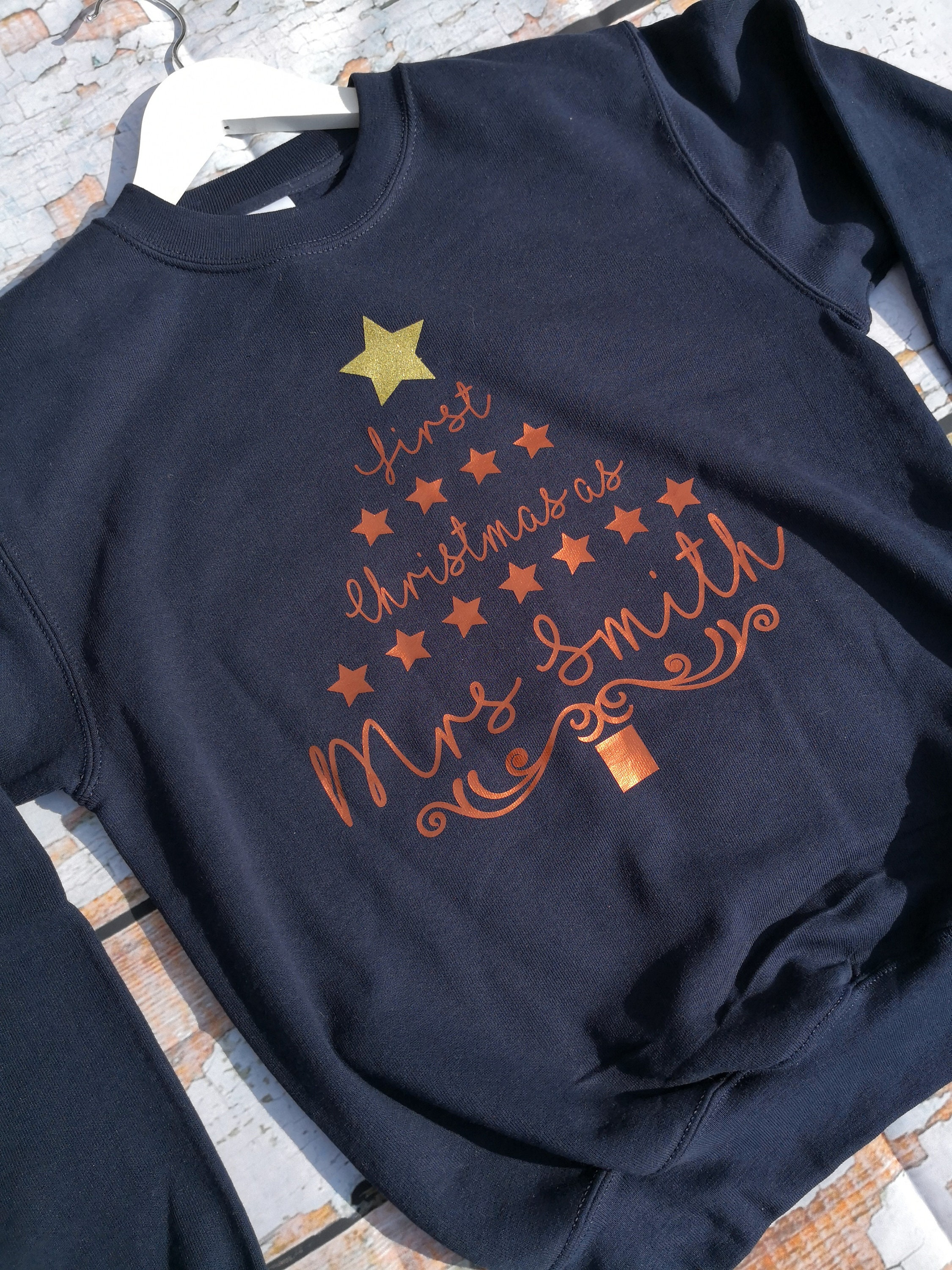 First Christmas As Mrs Personalised Christmas Jumper Sweatshirt Christmas Gift Wife Gift Wedding Gifts Gifts For Her Christmas Jumper