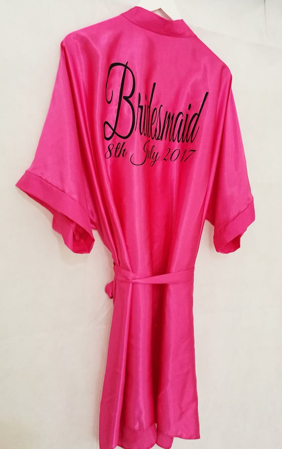 Pink Bridal Robe, Personalised Dressing Gown, Bridesmaid Gift, Hen Party Gift, Satin Robe, Wedding Dressing Gowns, size 8 to 26