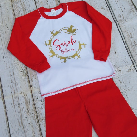 Personalised believes Christmas Pj's, Kids Christmas Pajamas, Red and white Pj's, Christmas eve box, Kids Santa pyjamas, Night before gift