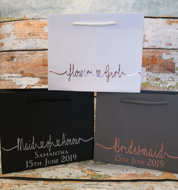 Bridesmaid gift bag, personalised luxury gift bags, wedding thank you gifts, bridesmaid gifts