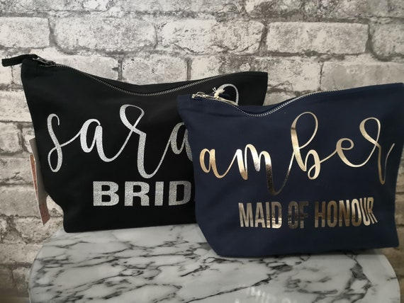 Personalised make up bag, Bridesmaid gifts, wedding thank you gift, bridal party cosmetics bag, wedding day gifts.
