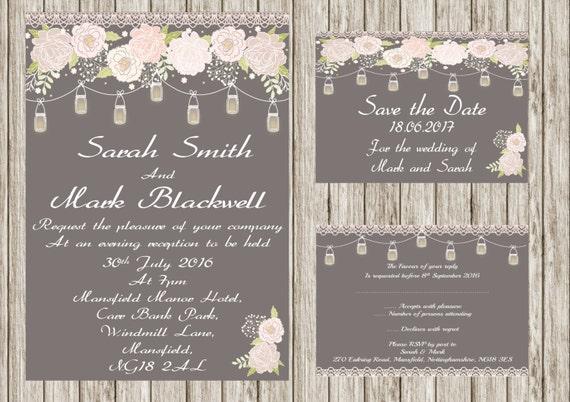 Mason Jar, rustic printable wedding invitation, shabby chic, Rsvp, print your own wedding invitations.
