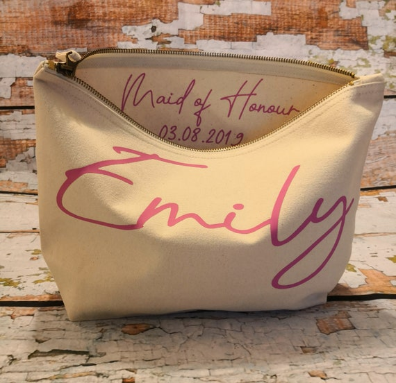 personalised bridesmaid gift, Wedding thank you gift, monogrammed makeup cosmetic bag, maid of honour gift