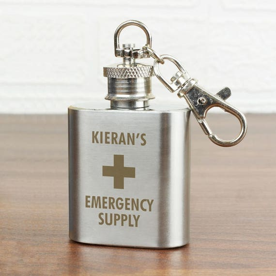 Hip Flask key ring, personalised groomsmen gift, Gifts for him, Best man gift, Personalised Hip flask, stocking filler, gifts under 10