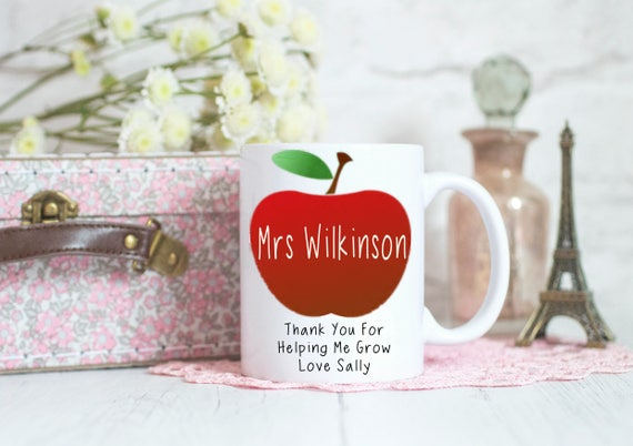 Teacher mug, Teacher gift, thankyou gifts, School teacher gifts, best teacher gift, end of term gifts, apple design, coffee mug