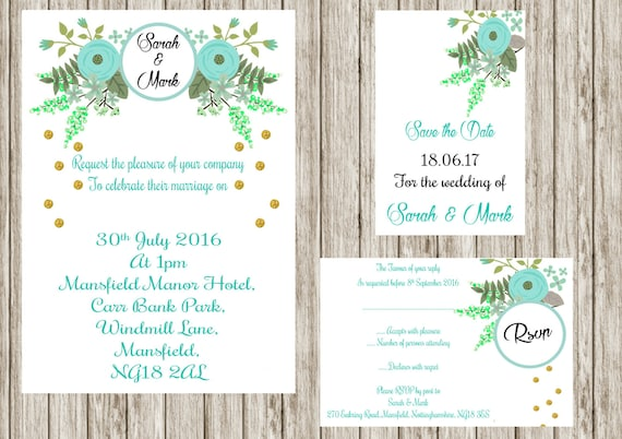 Mint Floral invitation, Printable wedding invitation set, Floral wedding invites, save the date, Rsvp, print your own, DIY invitations,