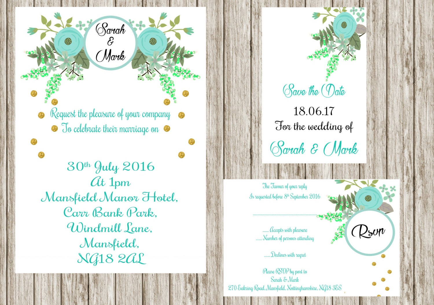 Printing Your Own Wedding Invitations: Mint Floral Invitation Printable Wedding Invitation Set