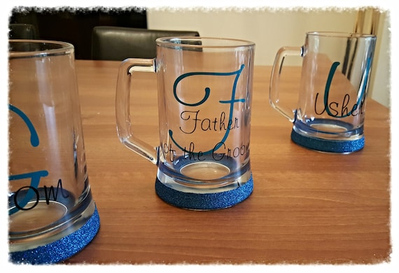Personlised glitter wedding tankards, Groomsmen gifts, first toast glasses