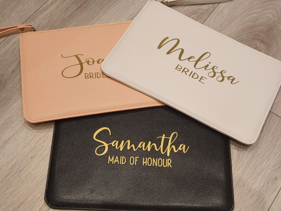 Personalised bridesmaid clutch bag, bridesmaid gift, initial clutch bag, personalized monogrammed bag, bridal pouch, bride clutch bag