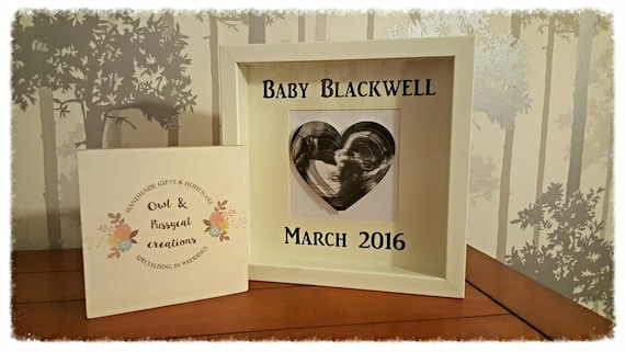 Personalised Baby scan, 3D love heart keepsake frame, Sonogram picture, first scan, new baby announcement, gifts for new grandparents.