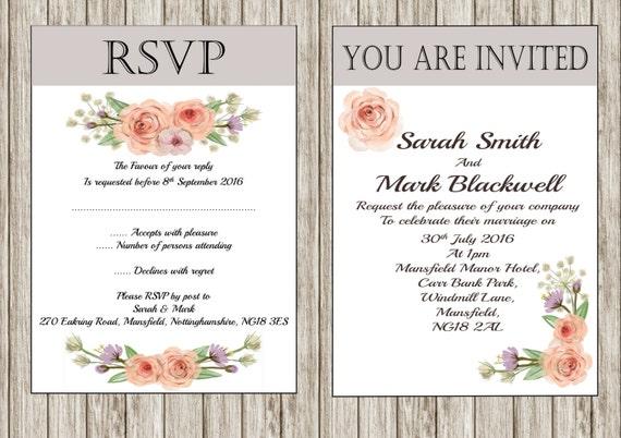 Vintage Rose printable Wedding invitation, DIY invitation, Floral, Shabby chic invitation, Print your own invitation