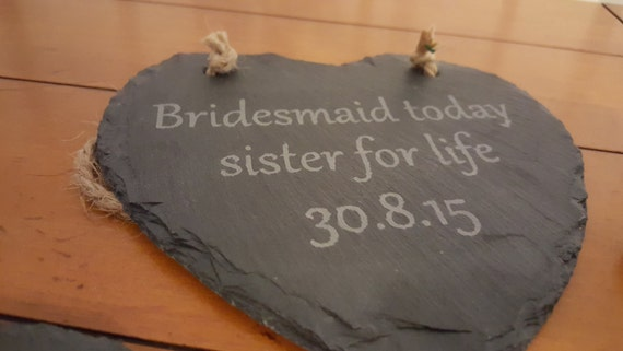 Hanging Slate Heart (large) personlised and etched by hand
