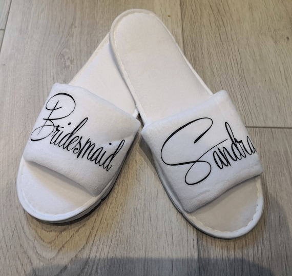 Personalised Wedding slippers, bridesmaid gifts, bridal party slippers, wedding slippers, wedding shoes, bridal slippers, spa hen weekend